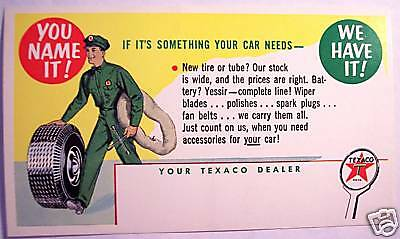 1957 Texaco Dealer Gas Station Attendant Tire Service Repair Reminder Post Card