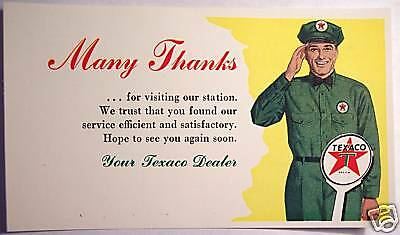 1956 Texaco Gas Station Sign & Service Attendant Dealer Thank You Post Card
