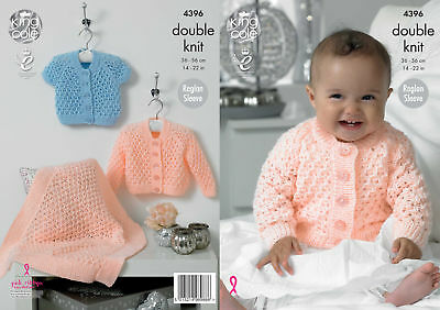 Baby Double Knitting Pattern King Cole Blanket Long Short Sleeve Cardigan 4396