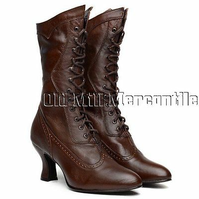 Oaktree Farms Vows Cognac brown kidskin Victorian granny boots 6-11