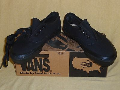 Nos Vintage 1994 Vans Shoes Black Usa Boys 4 Made In Usa Canvas