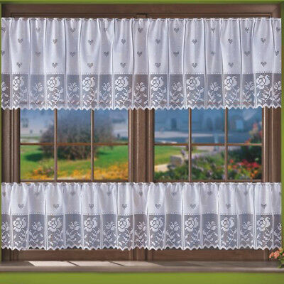 "White Cafe Net Curtain Sold by the metre 16"" or 24"" Drop Floral Roses"