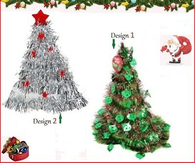 CHRISTMAS TREE HAT Green or Silver TINSEL~ Work School Costume Xmas BBQ Party