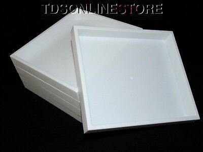 Lot Of 5 White Plastic Stackable Jewelry Trays 8 By 7 Inch