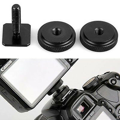 "Pro 1/4"" inch Dual Nuts Tripod Mount Screw To Flash Camera Hot Shoe Adapter"