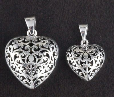 Womens 925 Sterling Silver Vintage Style Adorned Filigree Bali Heart Pendant