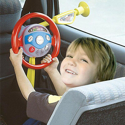 Kids Back Seat Car Steering Wheel Driving Game Toys Horn Electronic Sounds Light