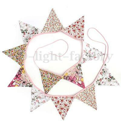 12 Flag Floral Fabric Bunting Shabby Chic Birthday Tea Party Home Vintage Decora