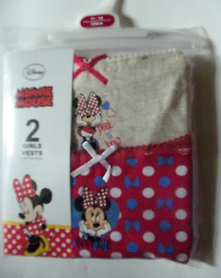 Girls 2 Pack Pink and Cream Vests with Disney's Minnie Mouse Detail