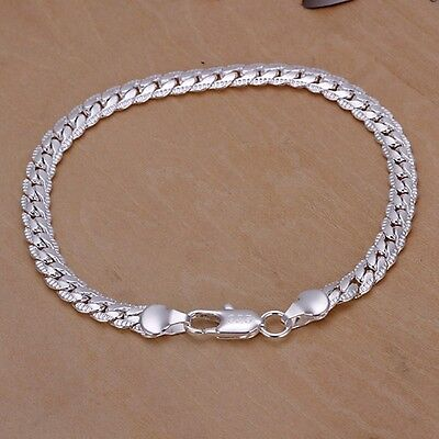 Pretty Silver Fashion 5MM snake chain Bracelet jewelry women men 925 wedding