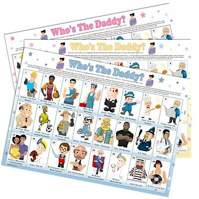 BABY SHOWER GAME - Who's The Daddy (guess who), Blue Boy Pink Girl Unisex Party