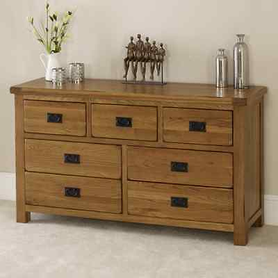 Rustic Oak 7 Drawer Multi Chest - Solid Bedroom 3 over 4 Storage Furniture RS07