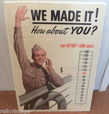 Vintage Estate 1945 Signed Fagg Wwii Army Military Victory Loan Treasury Poster!