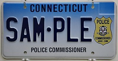 Connecticut DMV Sample License Plate ++ Police Commissioner HTF