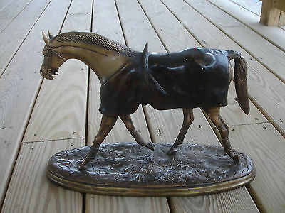 "Old Vtg Collectible Large Brass Bronze Horse Statue Figure On Base 17"" x 10"""