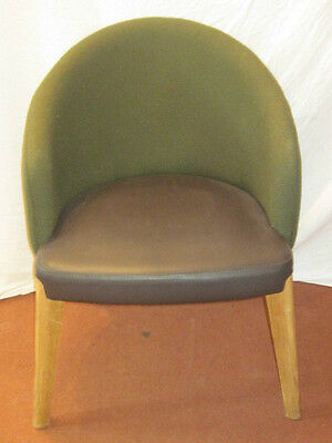Tub Armchair  Upholstered in fabric and vinyl