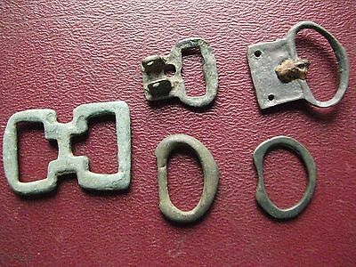 Authentic Ancient Artifact > Lot of 5 - Medieval Bronze belt buckles   13353