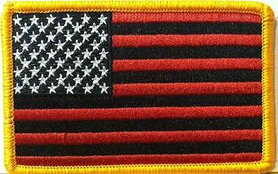 USA AMERICAN FLAG RED & BLACK Flag 3 X 2 Patch Iron-On Gold  Border #13