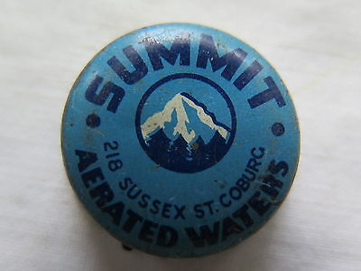 Crown Seal Bottle Cap Summit Aerated Waters Coburg Victoria Australia Used