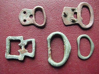 Authentic Ancient Artifact > Lot of 5 - Medieval Bronze belt buckles   13356