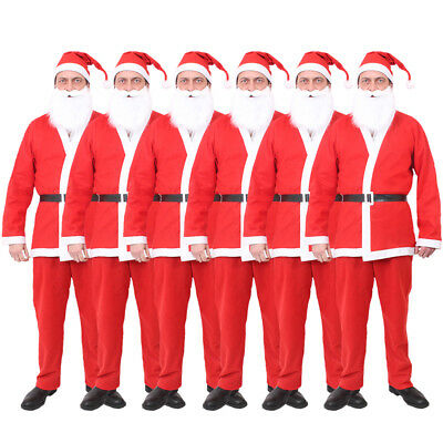 Red Father Christmas Santa Suit Fancy Dress Costume Christmas Outfit 5 Piece