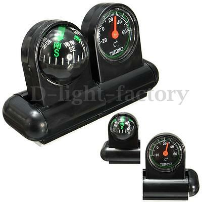 2 In 1 Removable Car Compass and thermometer Adhesive Van Truck Vehicle Boat