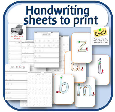 HANDWRITING PRACTICE teaching correct letter formation resources on CD KS1 EYFS