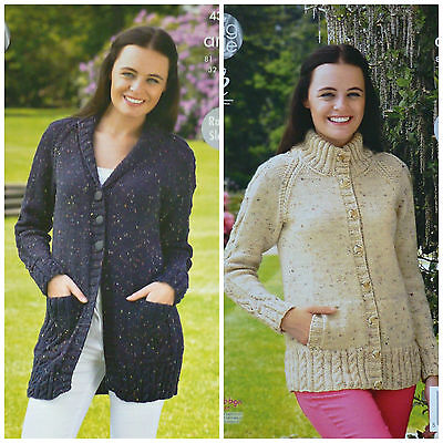 KNITTING PATTERN Ladies Raglan Sleeve Roll Collar or Hign Neck Jacket Aran 4348