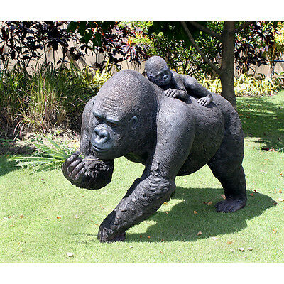 Life Size Lowland Jungle Wildlife Gorilla w Baby on Back Yard Sculpture Statue