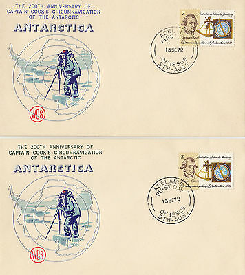Stamps Australia 1972 Captain Cook 7c on pair Bergen cachet added to WCS FDC's