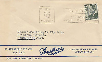 Stamp Australia 3d green KGV1 definitive on AUSTICO 1952 advertising cover