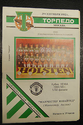 1992 Torpedo Moscow V Manchester United - 5 Different Programmes