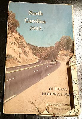 Vintage 1963 Official North Carolina State Hwy Map Coast To Coast Mtns To Coast