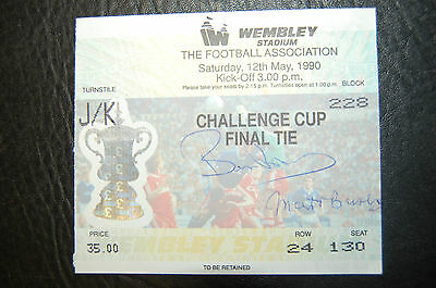 Matt Busby/bryan Robson Signed Ticket 1990 Fa Cup Final Manchester United