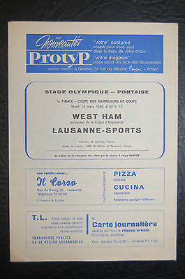 Lausanne-Sports V West Ham United 1965 Quarter-Final European Cup Winners Cup