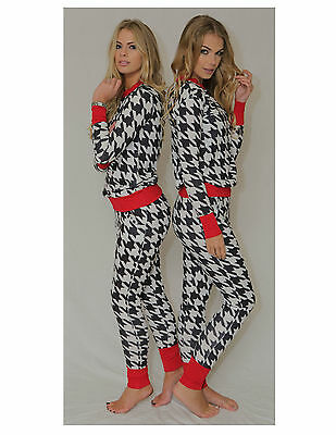 New womens ladies dog tooh Loungewear Tracksuit co-ord set