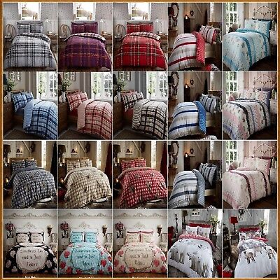 100% Cotton Flannelette Duvet Cover Set SINGLE,DOUBLE,KING