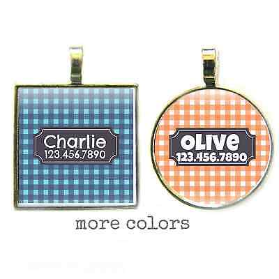 Gingham Plaid Personalized Pet ID Tag