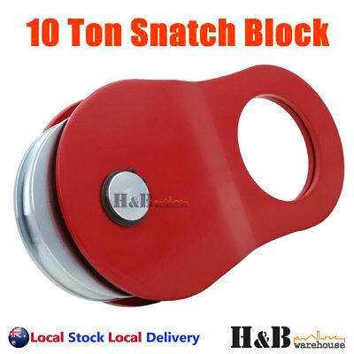 10 Ton Snatch Block Recovery Winch Rope Pulley Hoist Rated 4WD Red