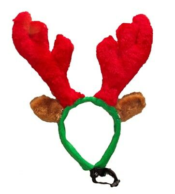 Luxury REINDEER ANTLERS Santa for your animal Dog Cat Red Plush