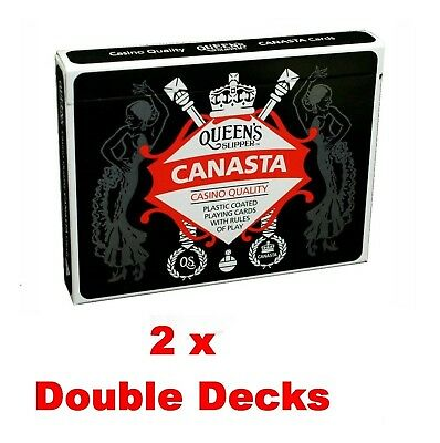 2 x Queen's Slipper Canasta Playing Cards Casino Quality Plastic 2 Double Decks