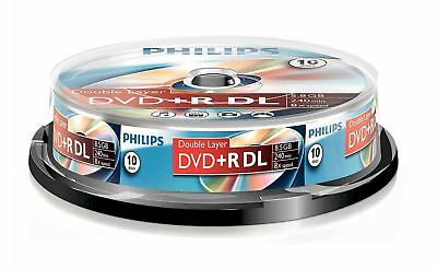 PHILIPS DVD+R DL DOUBLE LAYER 8.5GB 240min 8X SPEED SPINDLE - 10 BLANK DVD DISCS