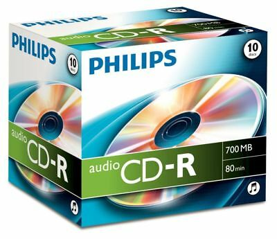 Philips CD-R 80 Minutes 700MB Audio Recordable Blank Discs - 10 Pack Jewel Cases