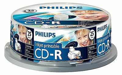 Philips Cd-R 80 Minute 700Mb 52X Speed Inkjet Printable Blank Cd Discs - 25 Pack