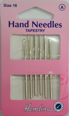 Hemline Hand Needles, Tapestry Needles Size 16, Pack of 6