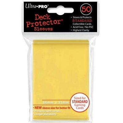 50 Count Yellow Ultra Pro Deck Protector Card Sleeves Storage Pokemon MTG Sports