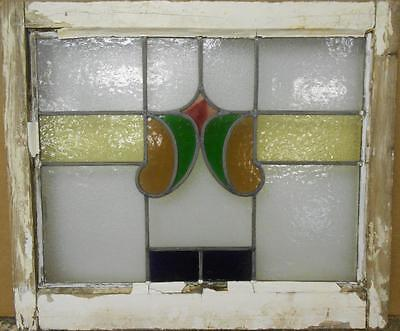 """MID SIZED OLD ENGLISH LEADED STAINED GLASS WINDOW Nice Abstract Band 23"""" x 19.5"""""""