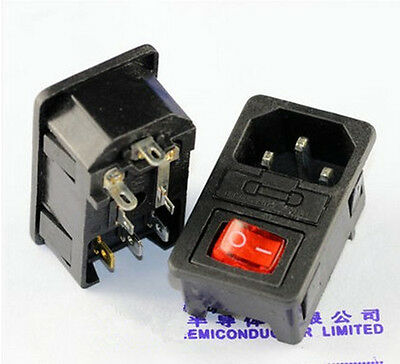 1Pcs 15A 250V IEC320 C14 3 Pin Fused Power Socket Connector Rocker Switch 8B-2