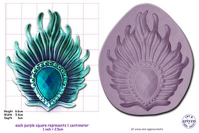 BROOCH; PEACOCK FEATHER Craft Sugarcraft Sculpey Silicone Rubber Mould