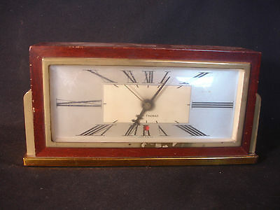 Old Vtg Antique Seth Thomas Wood Brass Desk Mantle Clock Baxter 2-E USA